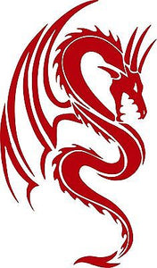 "Dragon Mythical Creature Fantasy Tribal Car Truck Window Vinyl Decal Sticker - 8"" Long Edge"