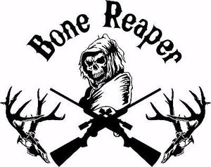 "Bone Grim Reaper Gun Hunting Deer Skull Car Truck Window Vinyl Decal Sticker - 9"" Long Edge"