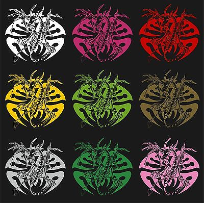 "Dragon Tribal Skeleton Creature Car Truck Window Laptop Vinyl Decal Sticker - 10"" long edge"