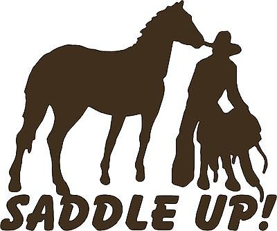 "Cowboy Horse Rodeo Western Saddle Farm Truck Car Window Vinyl Decal Sticker - 9"" Long Edge"
