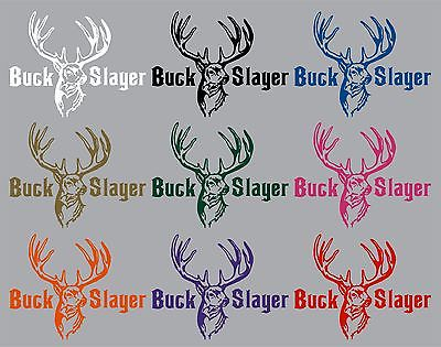 "Buck Slayer Hunting Deer Bow Gun Whitetail Car truck Window Vinyl Decal Sticker - 12"" Long Edge"