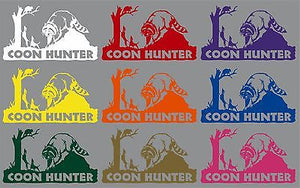 "Coon Dog Hunter Hunting Raccoon Treeing Window Laptop Vinyl Decal Sticker - 9"" Long Edge"