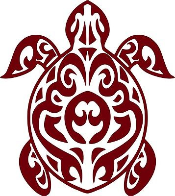 "Tribal Turtle Ocean Sea Pet Car Truck Window Graphic Vinyl Decal Sticker - 7"" Long Edge"