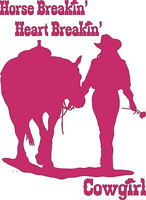 "Cowgirl Horse Rose Western Rodeo Car Truck Window Laptop Vinyl Decal Sticker - 7"" long edge"