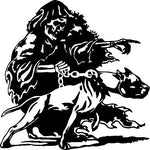 "Large Grim Reaper Pitbull Dog Chain Skull Car Truck Window Vinyl Decal Sticker - 22"" x 22"""