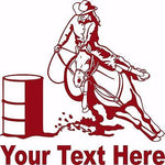 Barrel Racing Girl Rodeo Horse Custom Name Car Truck Window  Vinyl Decal Sticker - 6""