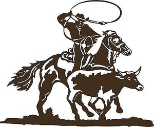 "Cowboy Roping Calf Western Rodeo Bull Horse Car Truck Window Vinyl Decal - 12"" Long Edge"