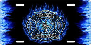 Firefighter Fireman Maltese Cross Fire Department License Plate Car Truck Tag
