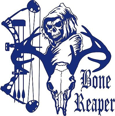 "Bone Grim Reaper Bow Hunter Deer Skull Car Truck Window Vinyl Decal Sticker - 11"" Long Edge"