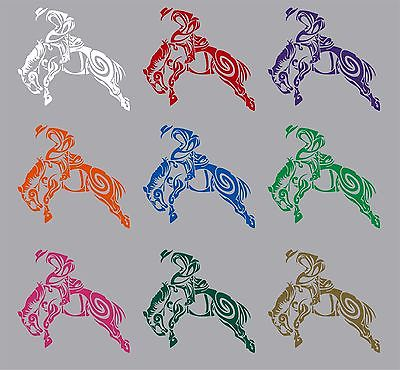 "Cowboy Tribal Bronco Horse Rodeo Western Truck Window Vinyl Decal Sticker - 5"" Long Edge"