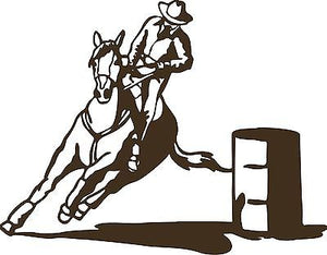 "Cowboy Barrel Race Horse Boy Rodeo Car Truck Window Laptop Vinyl Decal Sticker - 8"" long edge"