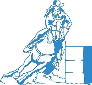 "Cowgirl Barrel Race Horse Rodeo Car Truck Window Laptop Vinyl Decal Sticker - 7"" long edge"