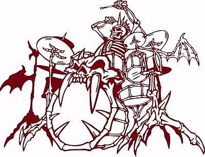 "Skeleton Rock Music Drummer Drums Car Truck Window Laptop Vinyl Decal Sticker - 10"" Long Edge"