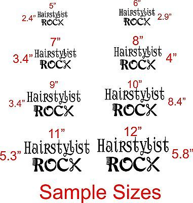 "Hairstylist Rock Beauty Hair Salon Car Truck Window Vinyl Decal Sticker - 6"" Long Edge"