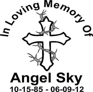 "Custom In Memory of Cross Barb Wire Car Truck Window Vinyl Decal Sticker - 9"" Long Edge"