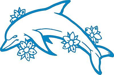 "Dolphin Flowers Ocean Fish Animal Car Truck Window Laptop Vinyl Decal Sticker - 11"" long edge"