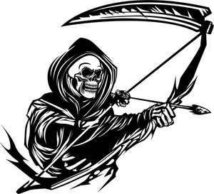 "Grim Reaper Bow Arrow Scythe Hunting Deer Car Truck Window Vinyl Decal Sticker - 8"" Long Edge"