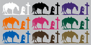 "Cowgirl Praying Cross Christian Horse Truck Window Graphic Vinyl Decal Sticker - 8"" Wide"