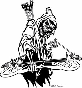"Grim Reaper Bow Arrow Archery Hunting Deer Car Truck Window Vinyl Decal Sticker - 15"" Long Edge"