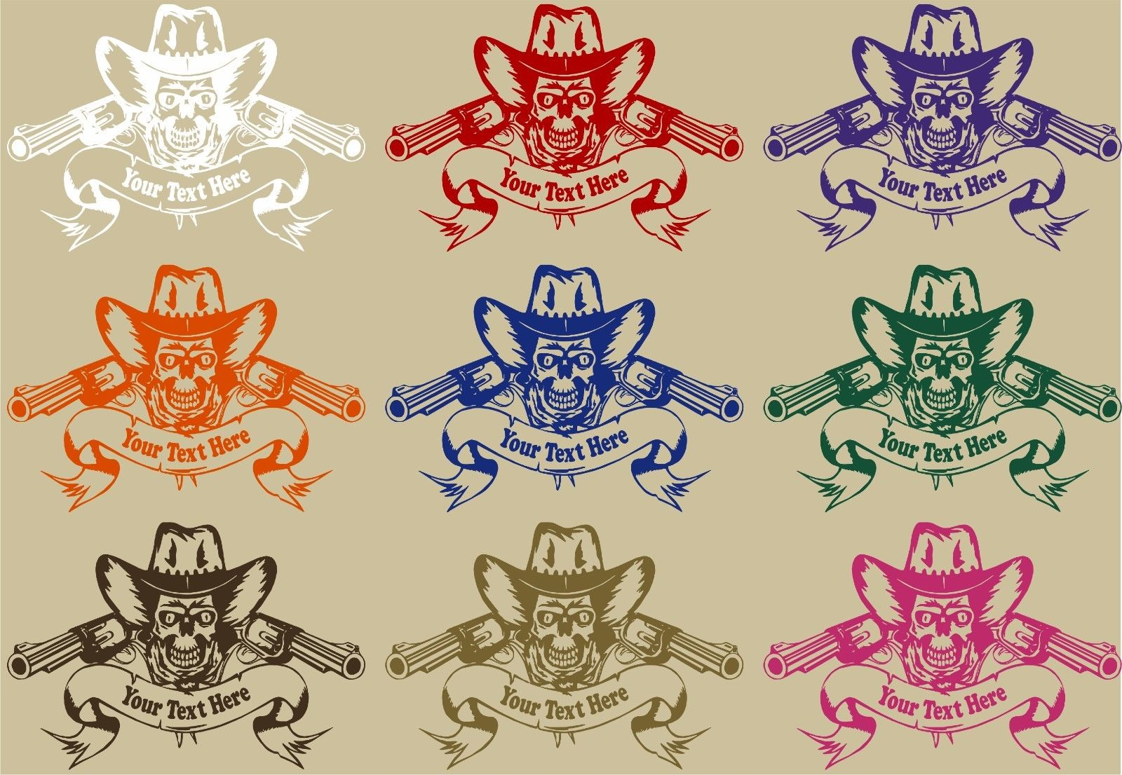 "Cowboy Skull Rodeo Guns Custom Name Car Truck Window Laptop Vinyl Decal Sticker - 14"" Long Edge"