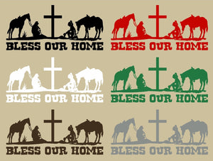 "Cowboy Cowgirl Home Rodeo Cross Horse Wall Home Vinyl Decal                   - 30"" x 14"""