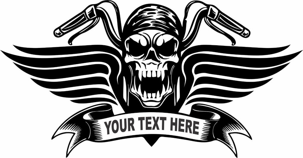 "Motorcycle Biker Skull Wings Custom Text Car Truck Window Vinyl Decal Sticker - 8"" Long Edge"