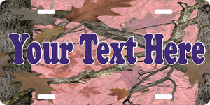 Custom Name Text Pink Camo Girl Hunting Hunter License Plate Car Truck Tag