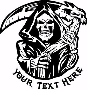 "Grim Reaper Skull Custom Text Business Name Car Truck Window Vinyl Decal Sticker - 16"" x 16"""