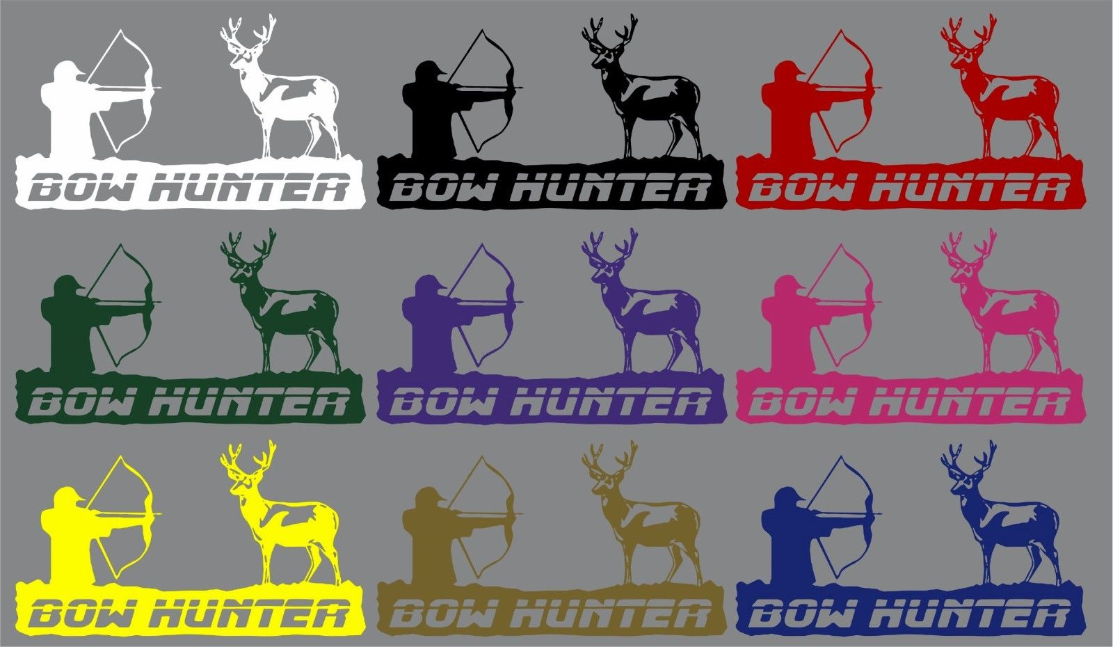 "Bow Hunter Deer Archery Hunting Car Truck Window Laptop Vinyl Decal Sticker - 11"" Long Edge"