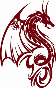 "Dragon Fantasy Mystical Creature Wings Car Truck Window Vinyl Decal Sticker - 14"" Long Edge"
