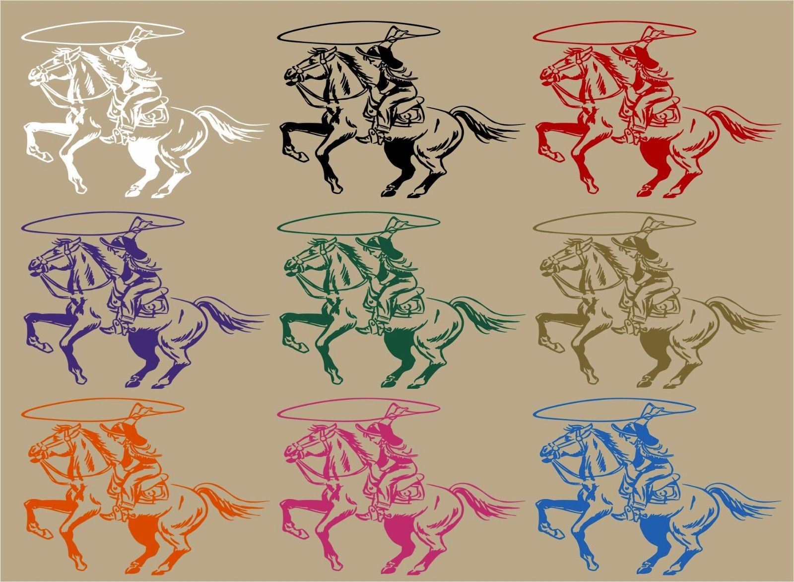 "Cowboy Cowgirl Horse Roping Rodeo Western Window Laptop Vinyl Decal Sticker - 12"" Long Edge"