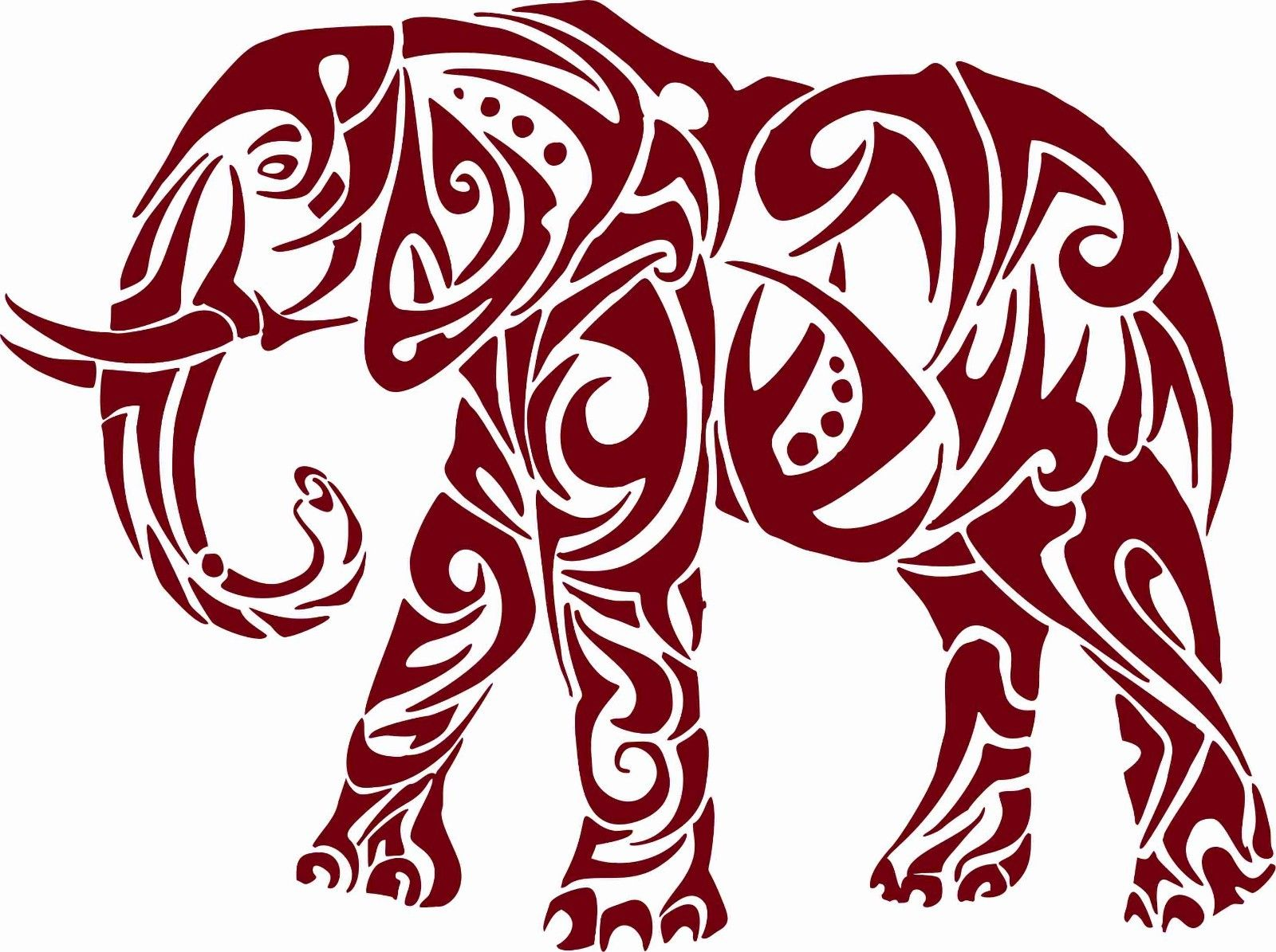 "Elephant African Zoo Animal Tribal Truck Window Vinyl Decal Sticker - 9"" Long Edge"