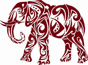 "Elephant African Zoo Animal Tribal Truck Window Vinyl Decal Sticker - 12"" Long Edge"