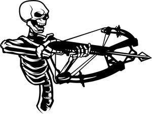 "Crossbow Skeleton Hunter Bow Deer Skull Car Truck Window Vinyl Decal Sticker - 9"" Long Edge"