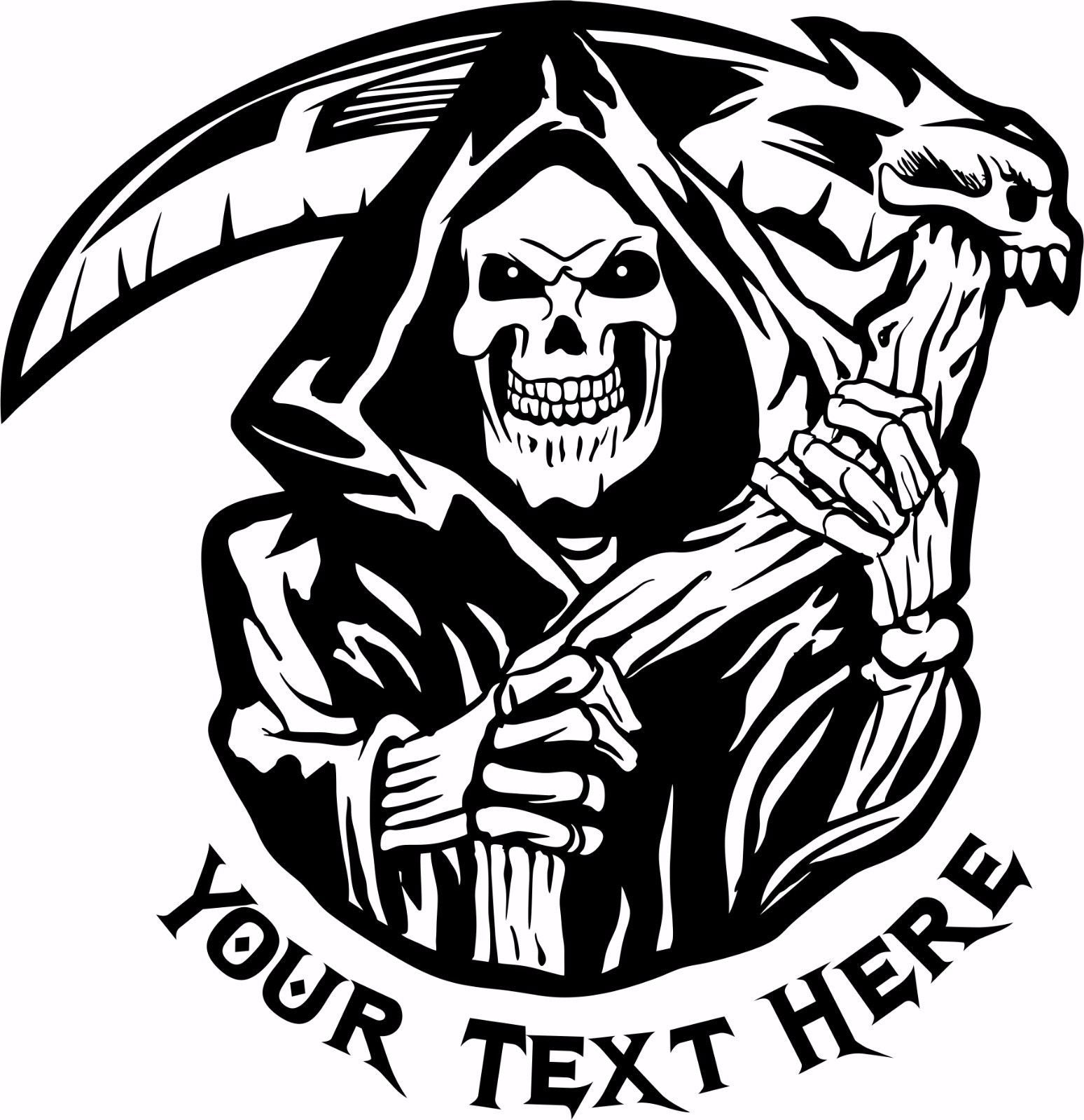 "Grim Reaper Skull Custom Text Business Name Car Truck Window Vinyl Decal Sticker - 18"" x 18"""