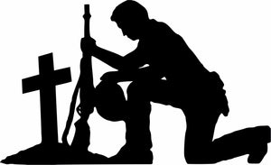 "Soldier Praying Service Military Christian Truck Car Window Vinyl Decal Sticker - 9"" Long Edge"
