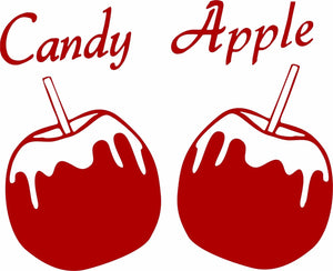 "Candy Apple Fruit Girl Sweet Fair Carnival Truck Car Window Vinyl Decal Sticker - 14"" Long Edge"