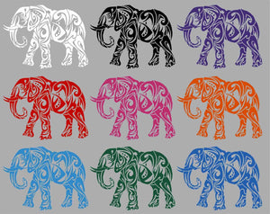 "Elephant African Zoo Animal Tribal Truck Window Vinyl Decal Sticker - 11"" Long Edge"