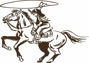 "Cowboy Cowgirl Horse Roping Rodeo Western Window Laptop Vinyl Decal Sticker - 9"" Long Edge"