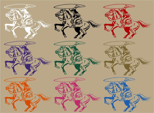 "Cowboy Cowgirl Horse Roping Rodeo Western Window Laptop Vinyl Decal Sticker - 8"" Long Edge"