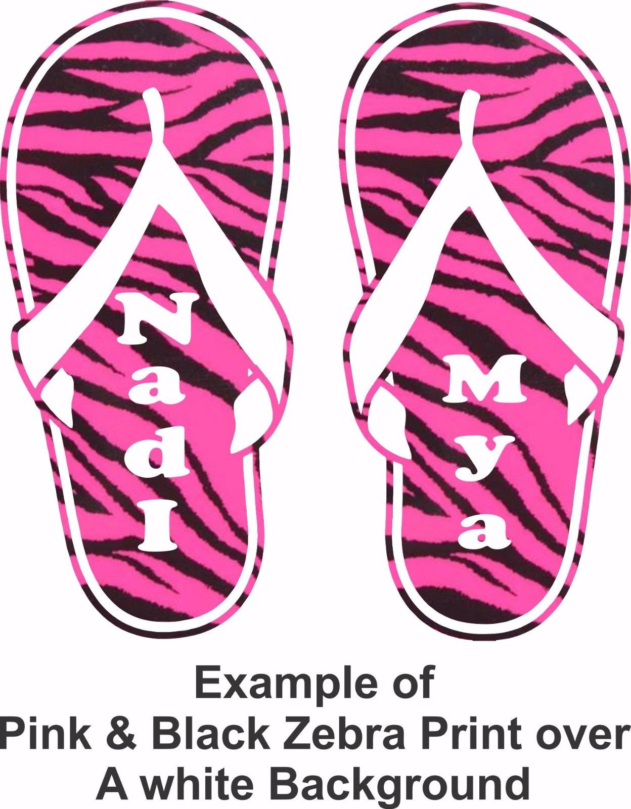 "Custom Name Zebra Print Flip Flops Car Truck Window Laptop Vinyl Decal Sticker - 8"" long edge"