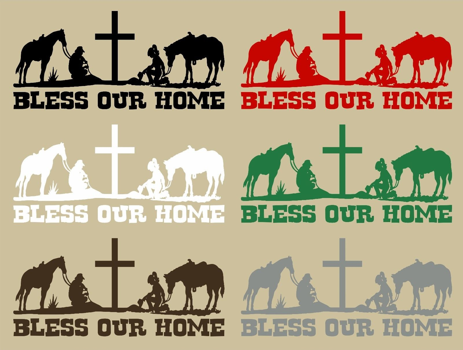 "Cowboy Cowgirl Home Rodeo Cross Horse Wall Home Vinyl Decal                   - 32.5"" x 15"""