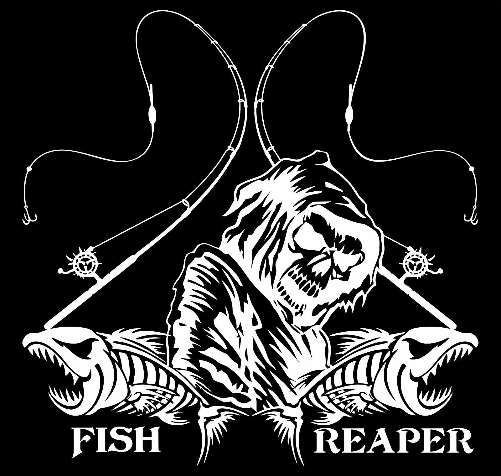 "Fishing Fish Grim Reaper Pole Skull Car Truck Window Vinyl Decal Sticker - 10"" Long Edge"
