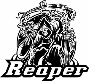 "Grim Reaper Scythe Death Shinigami Scary Car Truck Window Vinyl Decal Sticker - 9"" Long Edge"