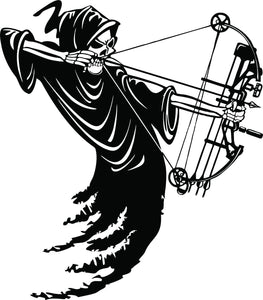 "Grim Reaper Bow Hunter Arrow Hunting Car Truck Window Vinyl Decal Sticker - 15"" Long Edge"