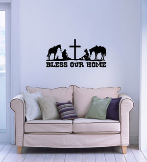 "Cowboy Cowgirl Home Rodeo Cross Horse Wall Home Vinyl Decal                   - 41"" x 19"""