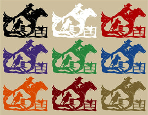 "Cowgirl Barrel Racer Horse Saddle Rodeo Fence Window Laptop Vinyl Decal Sticker - 13"" Long Edge"