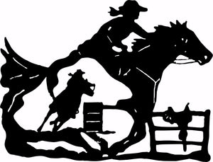 "Cowgirl Barrel Racer Horse Saddle Rodeo Racing Window Vinyl Decal Sticker - 22""  Long Edge"