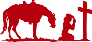 "Cowgirl Praying Cross Christian Horse Truck Window Graphic Vinyl Decal Sticker - 14"" Wide"
