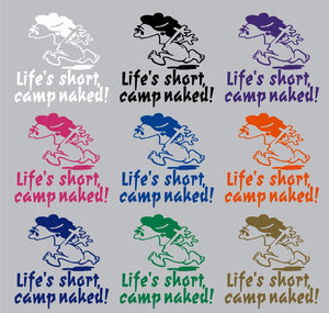 Camping Camp Naked Girl Woman Car Truck Window Wall Laptop Vinyl Decal Sticker - 9""
